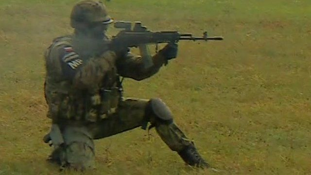 Soldier on 'live fire' exercise