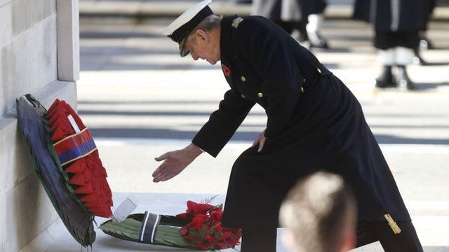 Britain's Prince Philip lays a wreath at the annual Remembrance Sunday ceremony at the Cenotaph in London November 10, 2013