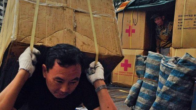 Aid agencies with supplies for the Philippines