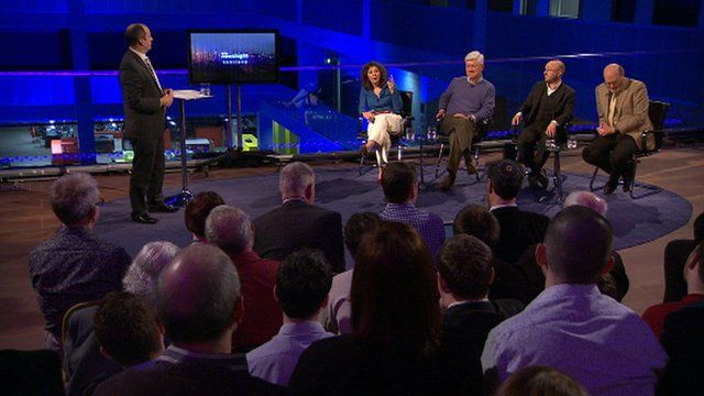 Glenn Campbell, Rev Sally Foster-Fulton, Prof John Haldane, Patrick Harvie and Harry Reid