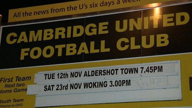 Sign at Cambridge United football ground