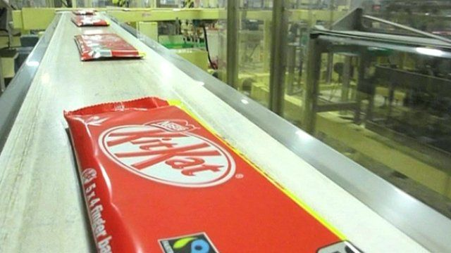 chocolate on production line