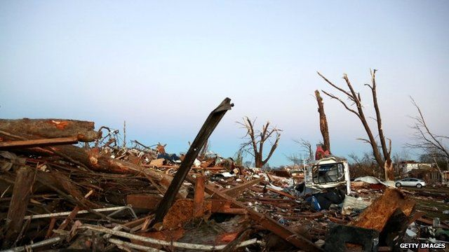 Debris after the tornado in Washington, Illinois