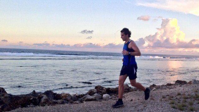 Mark Beaumont running in Nauru