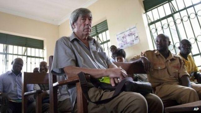 Bernard Randall in Uganda court on gay sex video charge