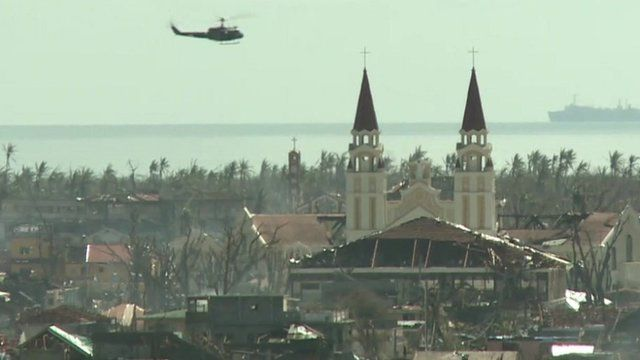 Helicopter flies over Palo