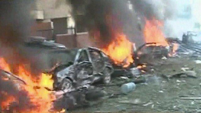 Blast in Beirut (grab from al-Manar TV)