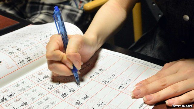 Woman practicing writing Chinese characters