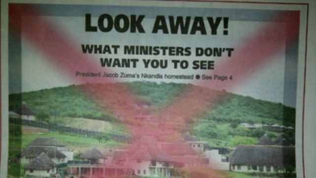 Jacob Zuma's Nkandla home: South African papers defy photo ban