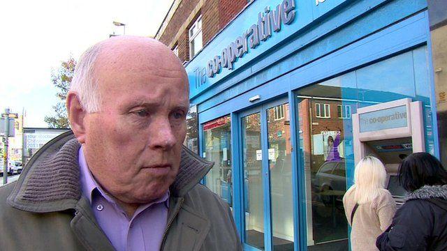 Man outside Co-op bank