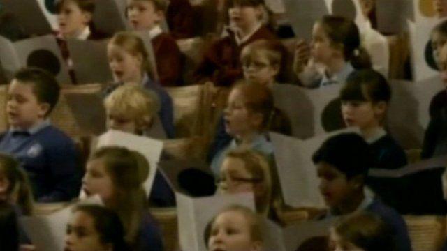 Children marking Benjamin Britten's centenary