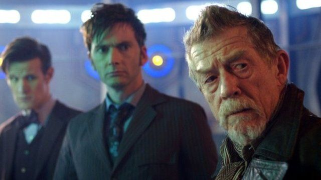 The three Doctors: Matt Smith, David Tennant and John Hurt in the 50th anniversary episode