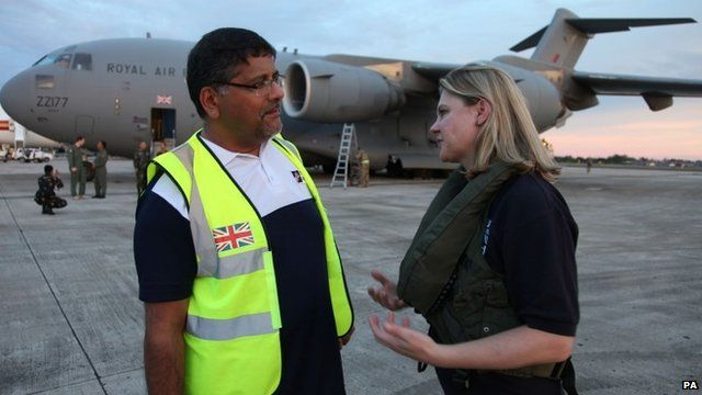 Justine Greening MP (right), being greeted by UK Ambassador to the Philippines Asif Ahmad