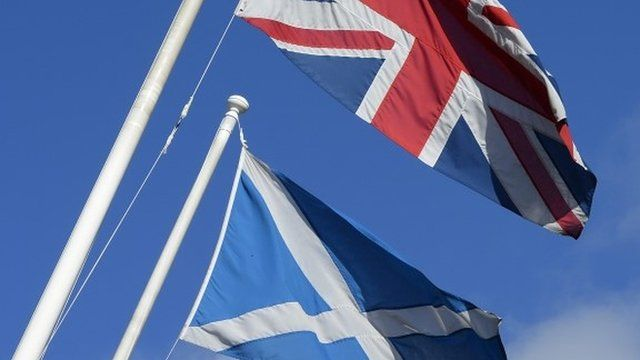 Union flag and Scottish Saltire flag