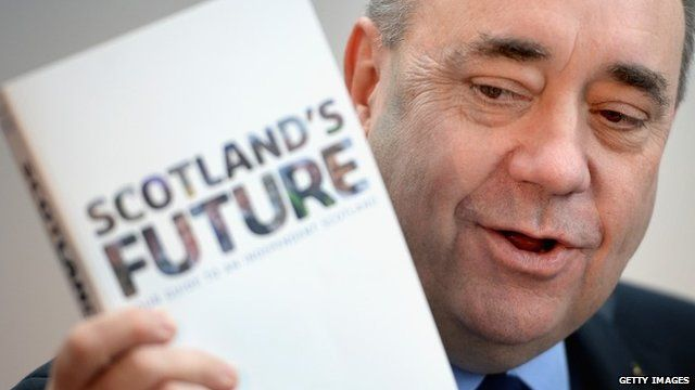 Alex Salmond and copy of Scotland's Future