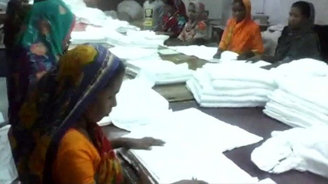 Workers at Bangladesh linen factory