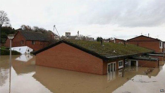 Flood waters in St Asaph