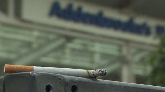 Cigarette on ledge outside Addenbrooke's hospital
