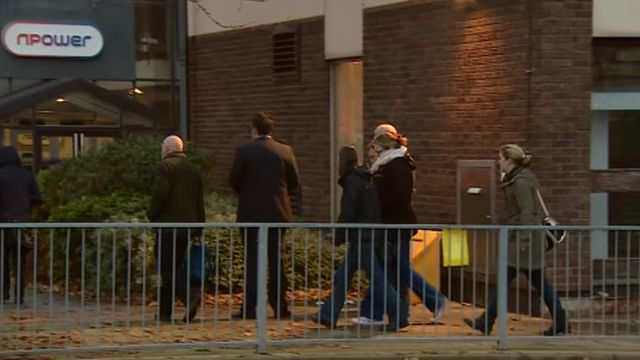 Workers arriving at Npower in Stoke on Trent