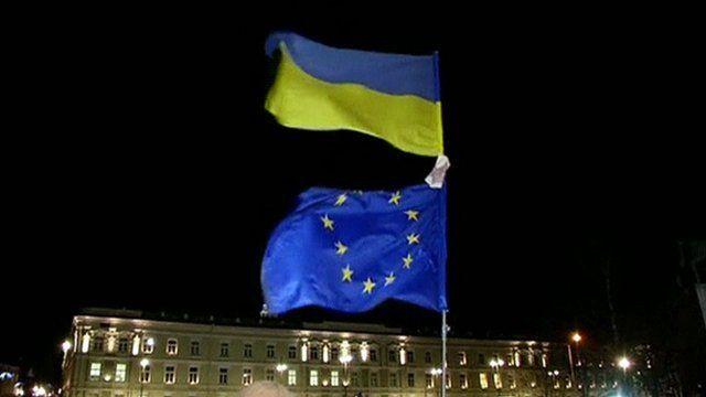 Ukraine and EU flags