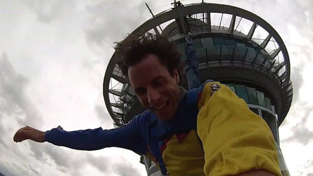 Mark Beaumont jumps from Sky Tower in Auckland