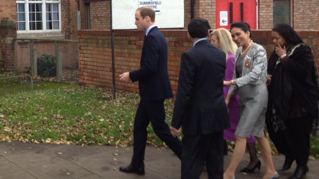 Prince William arrives at the Summerfield Community Centre