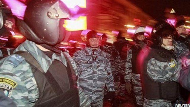 Riot police in Independence Square, Kiev. 30 Nov 2013