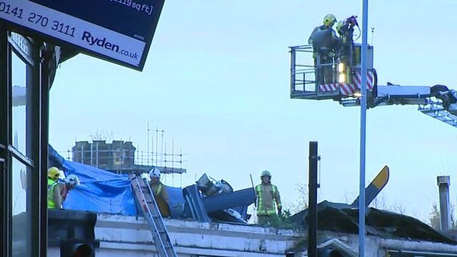 Scene of helicopter crash in Glasgow
