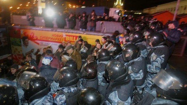 Police in Kiev on 30 November