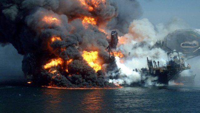 The Deepwater Horizon wellhead, April 2010, in the Gulf of Mexico