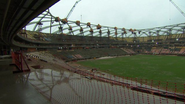 Interior of stadium under construction