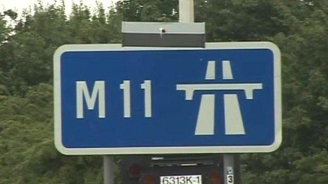 M11 road sign