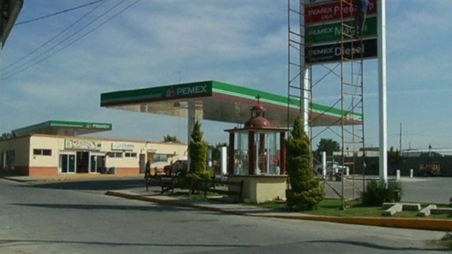 Petrol station where the truck was stolen