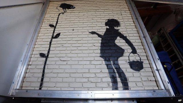 Banksy work Flower Girl