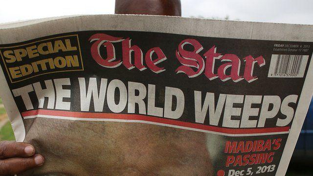 Newspaper headline announcing Mandela death