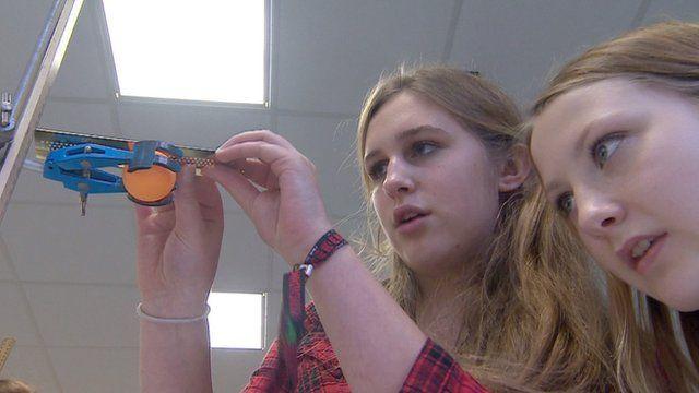 Girls in physics class at Cheney School