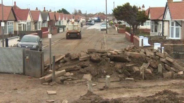 Damaged sea defences at Rhyl