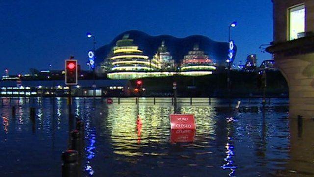 Sage Gateshead on flooded quayside