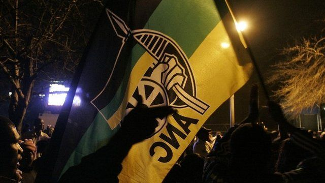 ANC supporters with ANC flag
