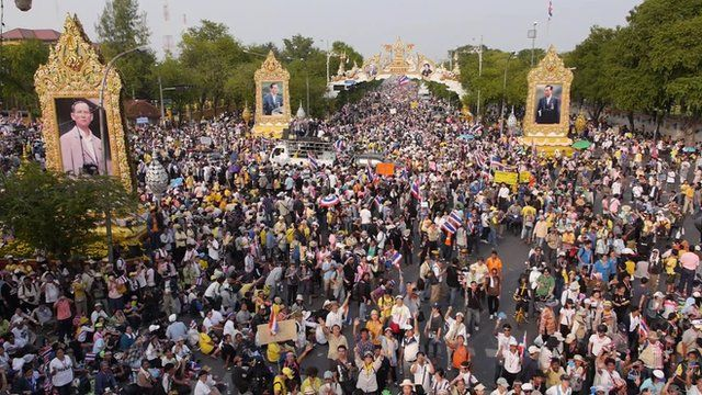 The BBC's Jonathan Head reports from a rally in Bangkok, as a drone aerial  camera captures the scene