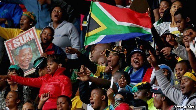 People in stadium for Mandela memorial
