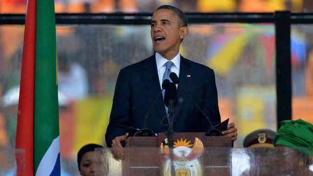 President Barack Obama speaks at Nelson Mandela's memorial service