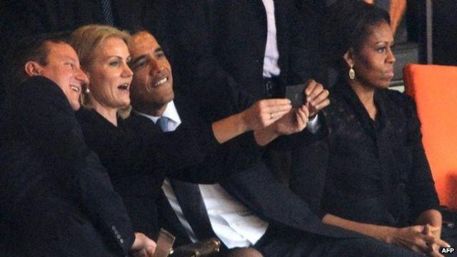 Cameron jokes about Mandela 'selfie' with a Kinnock