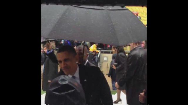 US President Barack Obama enters the FNB Stadium in Johannesburg