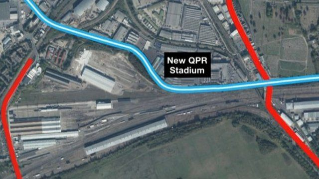 Planned location of QPR stadium