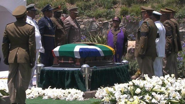 Nelson Mandela's coffin at graveside