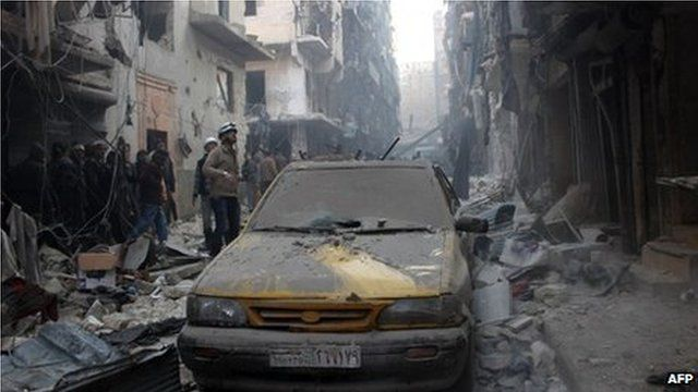 Aftermath of airstrike in Aleppo, 15th December 2013