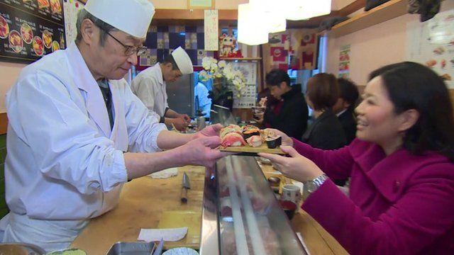 Linda Yueh in a sushi restaurant