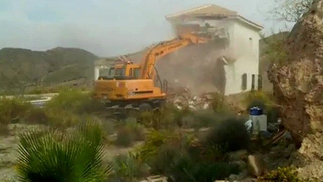 A house being demolished in southern Spain