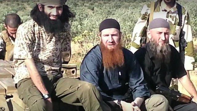 Omar Shishani (centre) was appointed a commander by the al-Qaeda-affiliated Islamic State of Iraq and the Levant